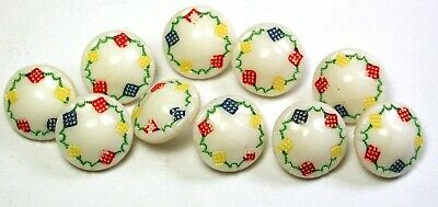 Set of 10 Vintage Glass Buttons w/ Colorful Painted Accents - 1/2""