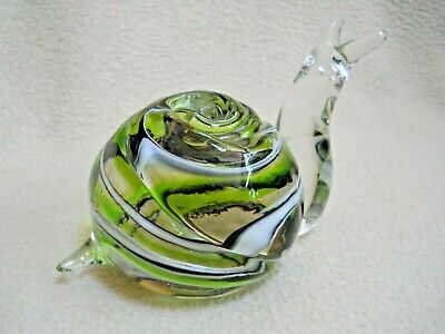 Vintage Hand Blown Solid Glass SNAIL Paperweight / Green & White Swirl