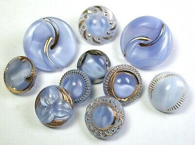 Vintage Moonglow Glass Button Lot of 10 Pretty Blue Assorted  7/16 to 11/16""