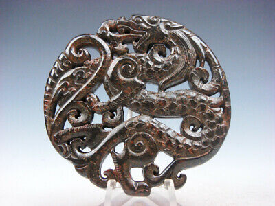 Old Nephrite Jade Stone Carved LARGE Pendant Rat On Curly Dragon Tail #07301911