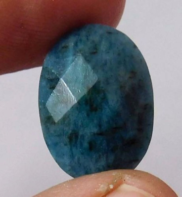 Dyed  Faceted Blue Sapphire Cut Loose Gemstone 11 ct 16X11 mm  AQ529