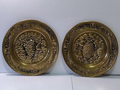 "2 Vintage Peerage Brass 14"" Wall Plate - ""Fruit""  Made In England Hanging"