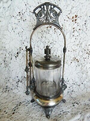 Vintage Pickle Castor And Tongs Silver Co. Quadruple Plate Pattern Glass