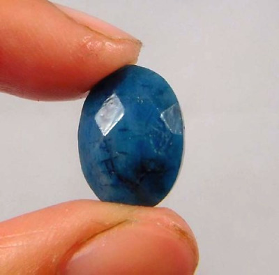 Dyed Faceted Blue Sapphire Cut Loose Gemstone  5ct 13x9mm  W462