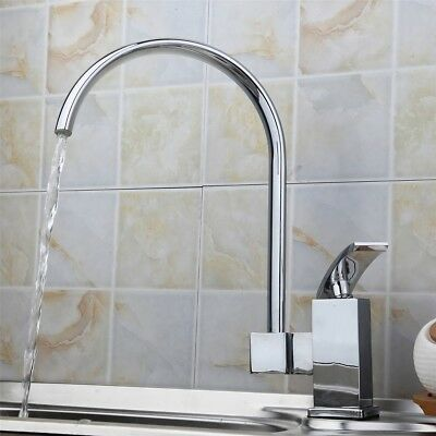 US Chrome Cold Hole Mixer Sink Water Tap Basin Kitchen Wash Handle Faucet