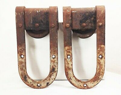 Vtg antique cast iron barn door gate hinges hanging track rollers rustic