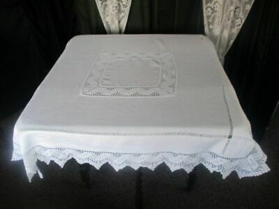 "ANTIQUE TABLECLOTH - HAND CROCHET INSERTION & EDGE - 42""sq."