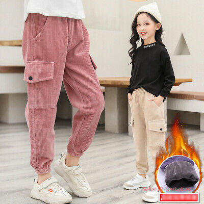 Kids Girls Winter Casual Warm Cargo Pants Fleece Lined Thermal Corduroy Trousers