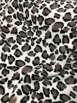 Super Soft Cuddle Fleece Fabric Snow Leopard Print Blankets Throws Double Sided