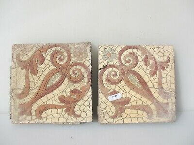 "Victorian Ceramic Floor Tile Architectural Antique 1800's Old Floral ""Maw & Co"""