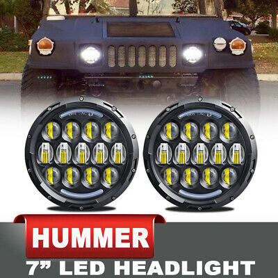"""MILITARY PROJECTOR 7/"""" ROUND LED HEADLIGHTS 12 /& 24 VOLT LMTV M998 M1078 A1 78w"""