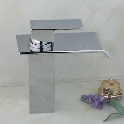 US Bathroom Chrome Single Handle Waterfall Sink Mixer Tap Faucet
