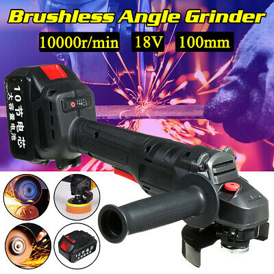 18V 168TV Cordless Brushless Angle Grinder 100mm Cutting Grinding Tools 19800H