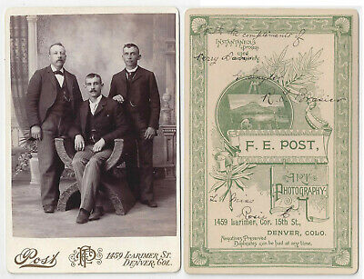 IDed Photo Of Three Men From Denver Colorado 1880s Cabinet Card
