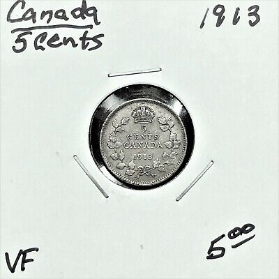 1913 Canada 5 Cents Silver Coin, King George V, VF