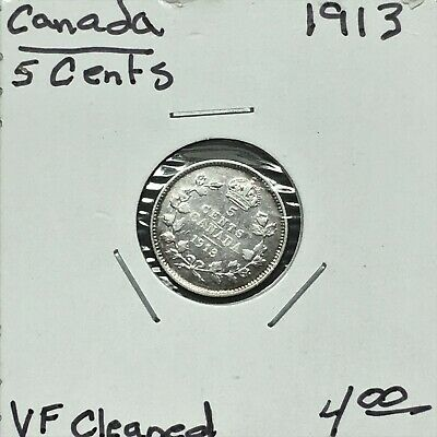 1913 Canada 5 Cents Silver Coin, King George V, VF cleaned