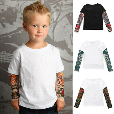 Toddler Baby Kids Boys Long T-Shirt Mesh Tattoo Printed Sleeve Tee Tops Summer