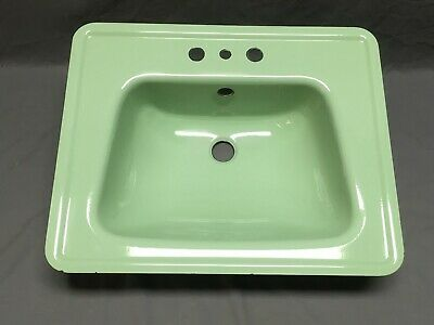 Vtg Stamped Steel Jadeite Green Porcelain NOS Drop In Retro Bath Sink 306-19E