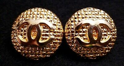 Authentic Vintage CHANEL CC Logo Gold Tone Metal Clip-On Earrings