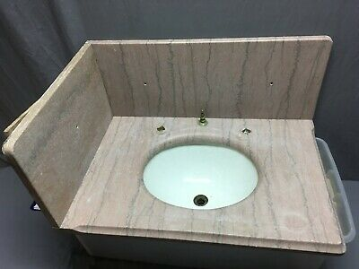 Antique 20x30 Rose Marble Bath Sink Oval Viterous China Basin Old Vtg 308-19E