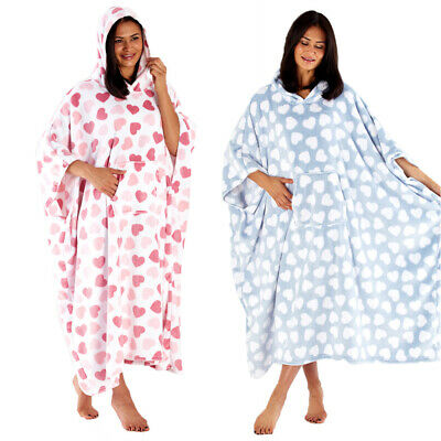 Womens Heart Print Super Soft Fleece Hooded Poncho Ladies Long Nightwear Dress