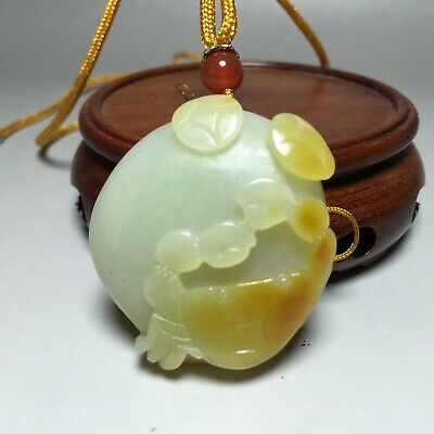 Rare 100% Natural Hand-carved HeTian Jade Pendant Necklace Crab&Coin 籽料八方来财+