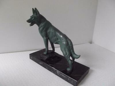 French Art Deco patinated spelter marble German Shepherd Alsatian desk figure