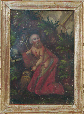 Antique Religious Painting on Tin – St. Jerome - Framed
