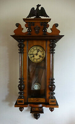 Antique Victorian Vienna Wall Clock by Kienzle Germany Chiming 8 Day Eagle Top