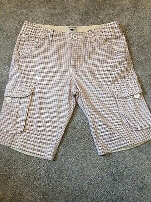 Lovely Mens River Island White Check Shorts W30 Vgc