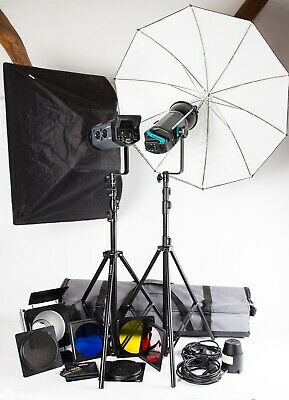 Bowens Esprit Gemini GM500 / 500. Two Head Outfit, Stands, Softbox, Brolly, Case