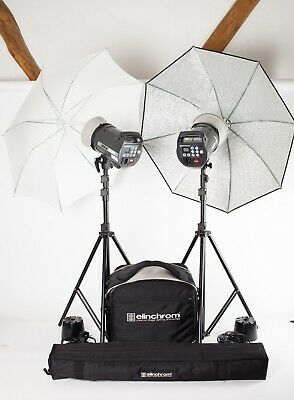 """Elinchrom BRX500. 2 Head """"Brolly To Go"""" Flash Kit + Stands, Cases, Leads etc."""