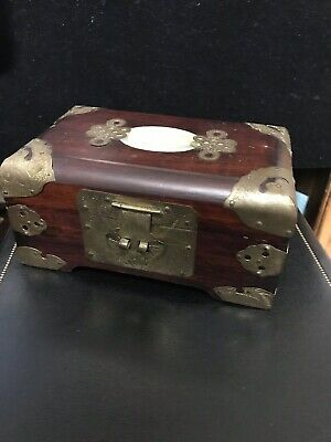Vintage CHINESE Rose WOOD BRASS & JADE MEDALLION WOODEN JEWELRY BOX