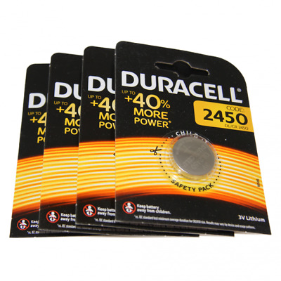 4x Duracell CR2450 3V Lithium Button Battery Coin Cell DL/CR/ECR 2450 Exp. 2026