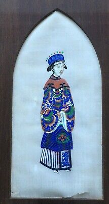 19TH CENTURY VINTAGE JAPANESE SILK WORK DEPICTING LADY IN ROBES 23x38 cm FRAMED