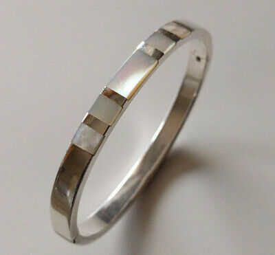 Hallmarked Sterling Silver /& Mother Of Pearl Hinged Bangle 13.23g Sheffield