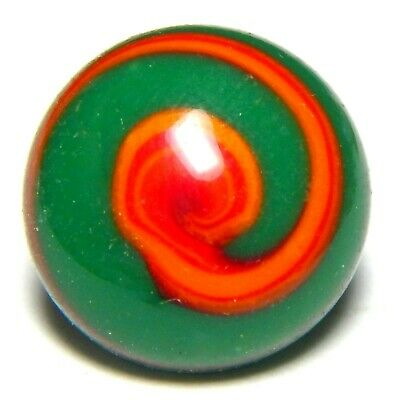 ANTIQUE EMERALD GREEN VENETIAN ART GLASS BUTTON w/RED SWIRL OVERLAY