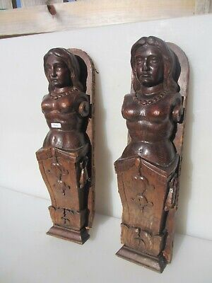 Victorian Carved Wood Furniture Mount Lady Antique French Wooden Old Georgian x2
