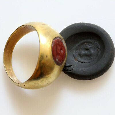 Rare-Roman Gold Seal Ring With Gem Stone Circa 100-300 Ad-Intact