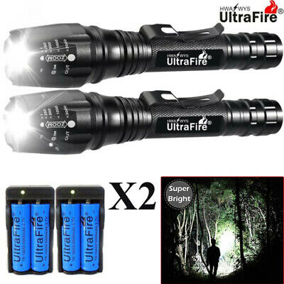 900000LM T6 LED Rechargeable High Power Torch Flashlight Lamps Light &Charger `