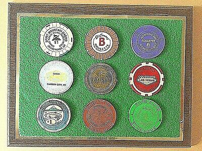 CASINO CHIPS $1 & ROULETTE 9 different LAS VEGAS, OREGON, NV wood framed set