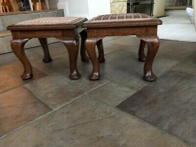 Antique Pair Upholstered Stools