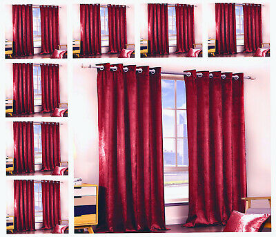 Pair Of Plush Crushed Velvet Eyelet Curtains-Fully Lined Ring top Tie Backs Red