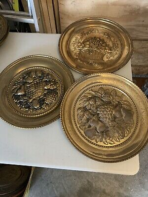 "Lot Of 3 Vintage 16.5"" Fruit Embossed Brass Wall Plates All Made in ENGLAND"