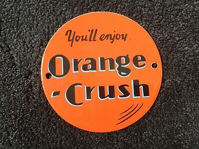 Vintage Orange Crush Soda Pop Drink Porcelain Sign Gas Oil Metal Service Station