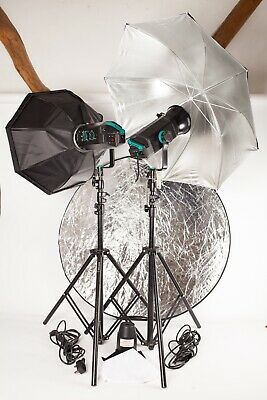 Bowens Esprit 500. Two Head Flash Outfit, Stands, Brolly, Octabox, Leads.