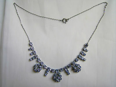 Vintage Art Deco Blue Diamante Necklace With Chromed Chain In Chrome Setting
