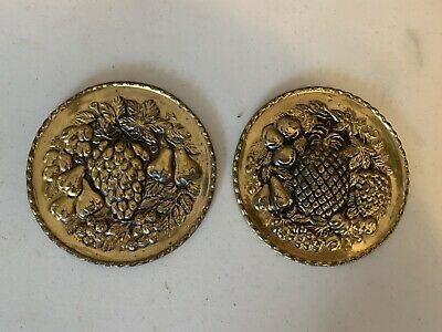 """2 Small 6"""" Vintage Fruit Embossed Brass Wall Plates All Made in ENGLAND"""