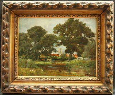 19th Century IMPRESSIONIST LANDSCAPE HORSE & CART SIGNED Antique Oil Painting