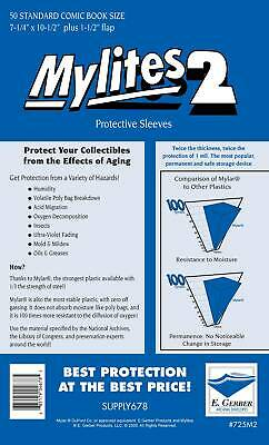 Mylites 2 Mil Mylar Bronze & Silver Age STANDARD Comic Book Bags PACK OF 50